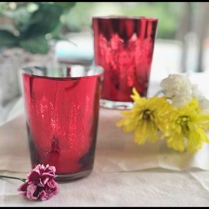 2/$20💥SALE💥 2 Glass Red/Silver Candle Holders